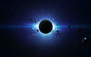 планета, behind the scene, blue spase, астероиды