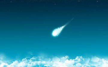 облака, синий, минимализм, комета