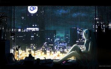 ночь, цветок, наушники, дождь, вокалоид, голубые волосы, подоконник, мику хацунэ