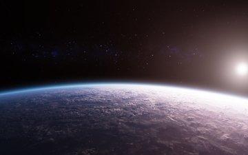 облака, планета, поверхность, космическая, dawn over a new world, новый мир, звезд