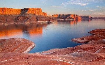 скалы, юта, озеро пауэлл, глен-каньон, reflection canyon