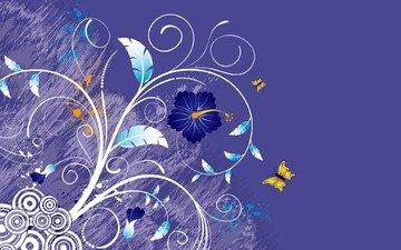 цветы, листья, вектор, пурпур