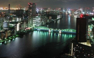ночь, река, мост, японии, токио