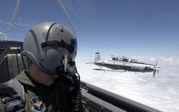 небо, облака, обои, самолет, кабина, пилот, военный, авиация, лётчик, шлем