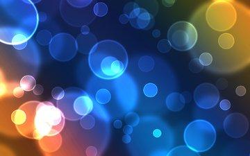 свечение, кружки, голубая, мыльные пузыри, окружности