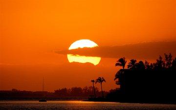 солнце, закат, тучи, море, пальмы