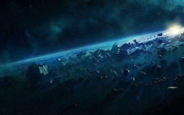 звезды, планеты, астероиды, космическое, пространство