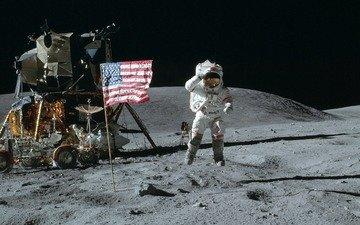 космос, обои, луна, америка, прыжок, флаг, сша, космонавт, американец, лунный модуль, луноход
