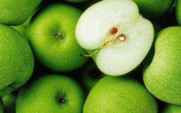 зелёный, капли, еда, яблоки