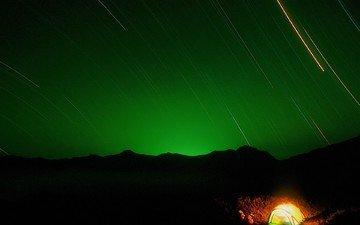 ночь, звезды, палатка