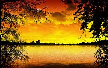 облака, деревья, вода, вечер, пейзаж, красота, гладь, деревь, вечернее, в стиле