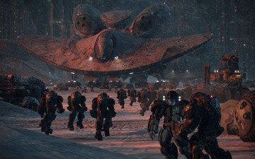снег, оружие, солдаты, будущее, броня, техника, звездолет, эвакуация, колония