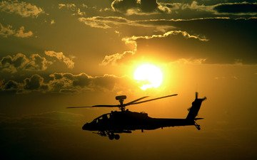 небо, солнце, закат, полет, вертолет, вооружение, апачи