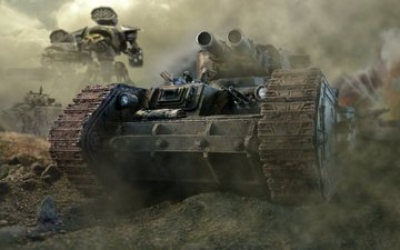 trunks, smoke, tank, warhammer 40k, leman russ, guns, windshield, armor, imperial, guard, titan