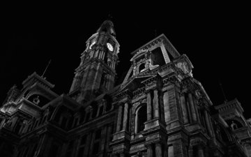night, black and white, architecture, chapel, philadelphia, pa