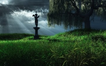 трава, дерево, ангел, статуя