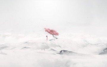 дерево, девушка, песок