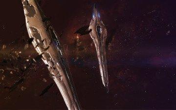 станция, космос, звезды, осколки, астероиды, шатл, космический корабль