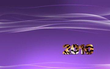 тигр, полосы, новый год, линии, волны, фиолетовый, 2010