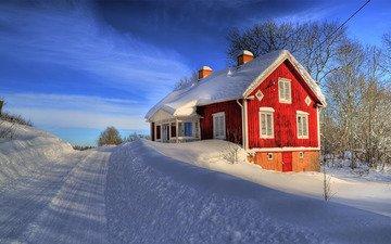 дорога, снег, зима, дом