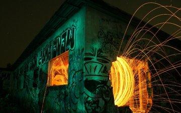 night, fire, graffiti, sparks