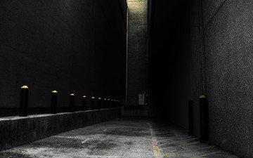 серый, стены, переулок