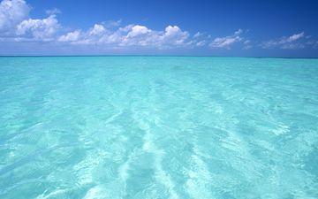 небо, облака, горизонт, океан
