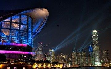 ночь, цвета, город, небоскребы, подсветка, освещение, гонконг, вечерние огни, gorod opera vechernie-ogni avstraliya