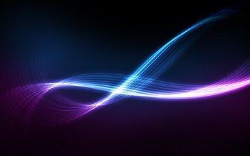 линии, свечение, поток, глау