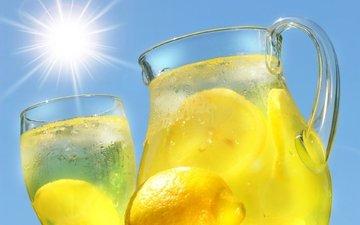 пить, лимоном, кувшин, вс