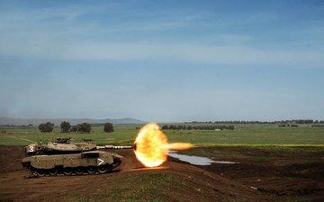 выстрел, танк, полигон