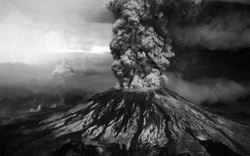 фото, гора, чёрно-белое, извержение, вулкан, st. helens, святой елены, пепел