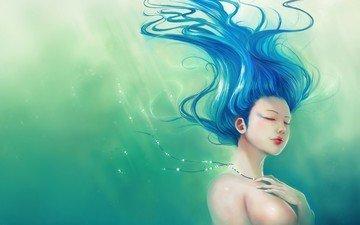 зелёный, синий, волосы
