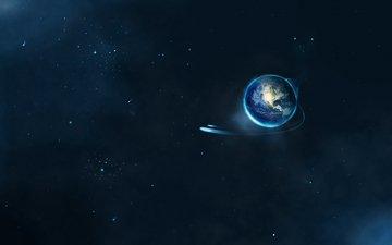 земля, полет, звезды, планета