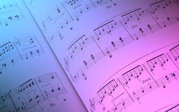 ноты, бумага, цвет