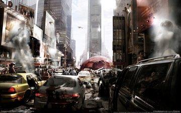люди, город, нью-йорк, машины, прототип, хаос, вирус, эпидемия