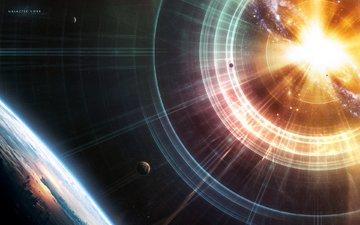 свет, земля, звезды, планеты, взрыв, planets, космическая, звезд