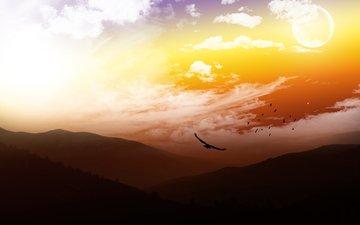 небо, облака, горы, обои, пейзажи, небеса, птицы, неба, moon, взляд, luna, шикарнейший пейзаж, бомбовский вид, супер-пупер качество, пернатые