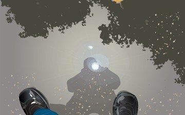 отражение, вектор, осень, лужа