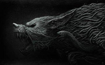 оскал, волк, fenrir, переплетения