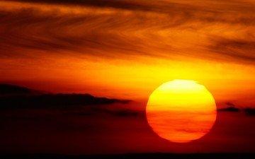 облака, солнце, закат