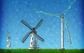 мельница, человечки, ветер, ветряк, сачок