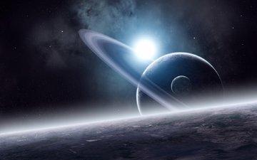 звезды, планеты, туманность, спутник, кольца, поверхность, planets, the blue dream, звезд