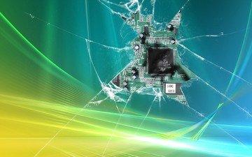 монитор, осколки, микрорсхема, разбито
