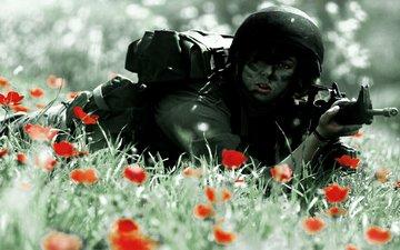 солдат, автомат, каска, экипировка, расскраска