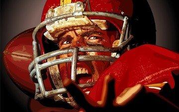 вектор, шлем, спортсмен, американский футбол, регби
