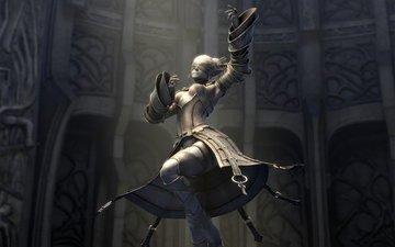 платье, зал, статуя, lineage