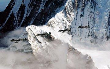 горы, самолет, скала, аляска, a-10, thunderbolt, pacific alaska range complex, тренировочный полёт