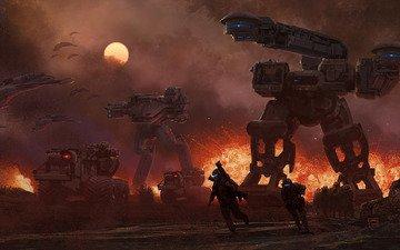 солнце, корабли, война, солдаты, роботы, взрыв, техника, steve burg, будущего, шагатели