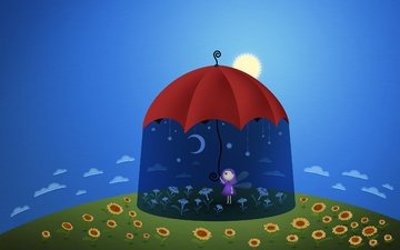 солнце, зонт, подсолнухи